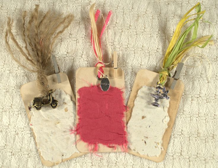 Cottage Chic Tea Stained Gift Tags for Him or Her. Value Pack Set of 3. Mini pegs. Handmade paper, raffia, ribbon, jute. OOAK.