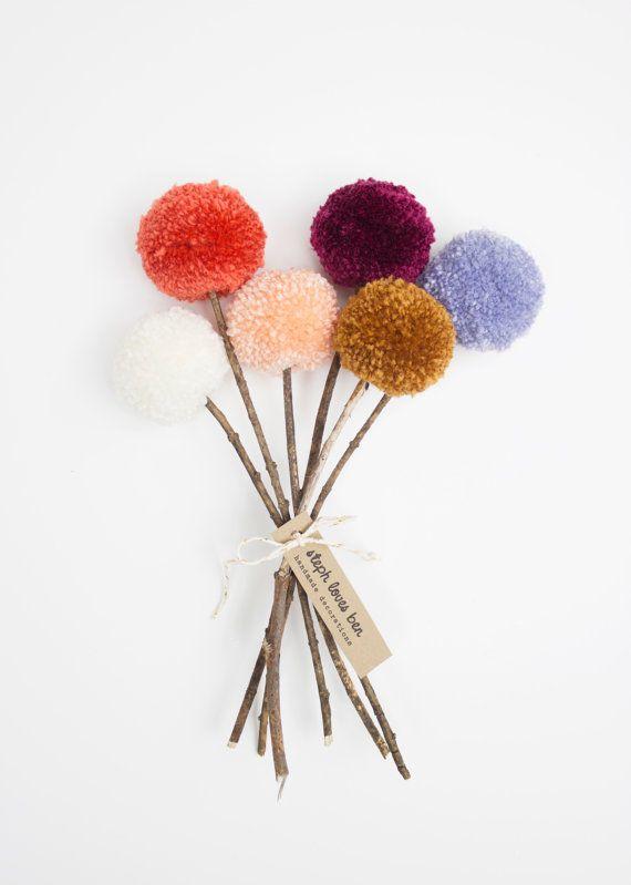 Yarn Pom Pom Flowers Fall Bouquet - Etsy- Stephlovesben