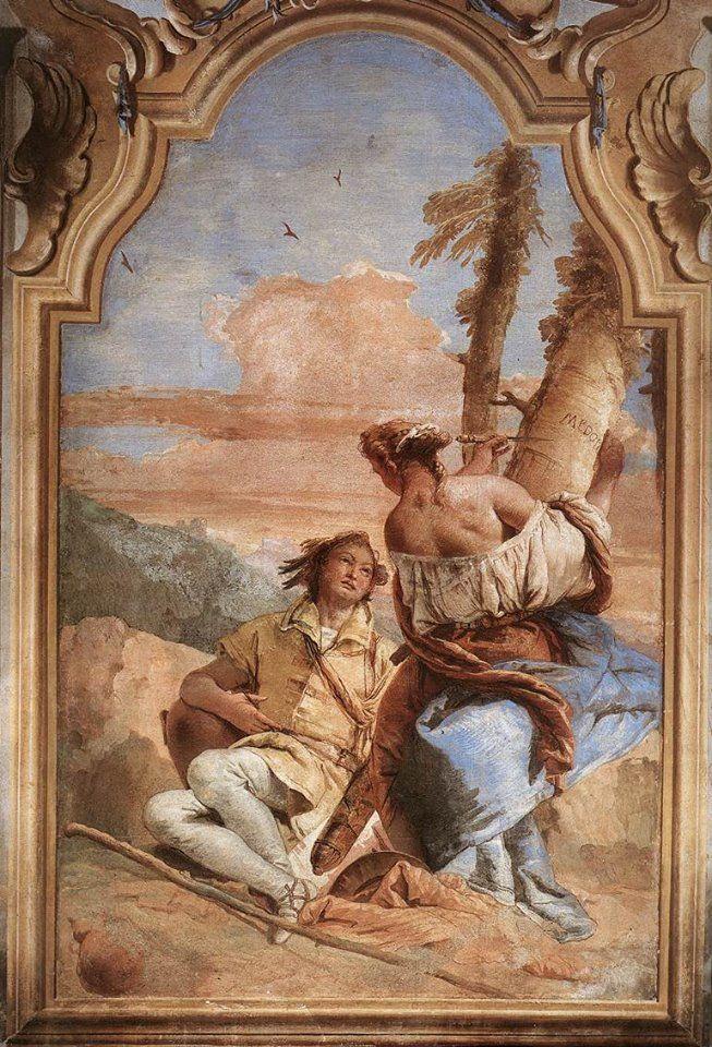 Angelica e Medoro, un'opera di Tiepolo che potete vedere alla Villa Valmarana a Vicenza