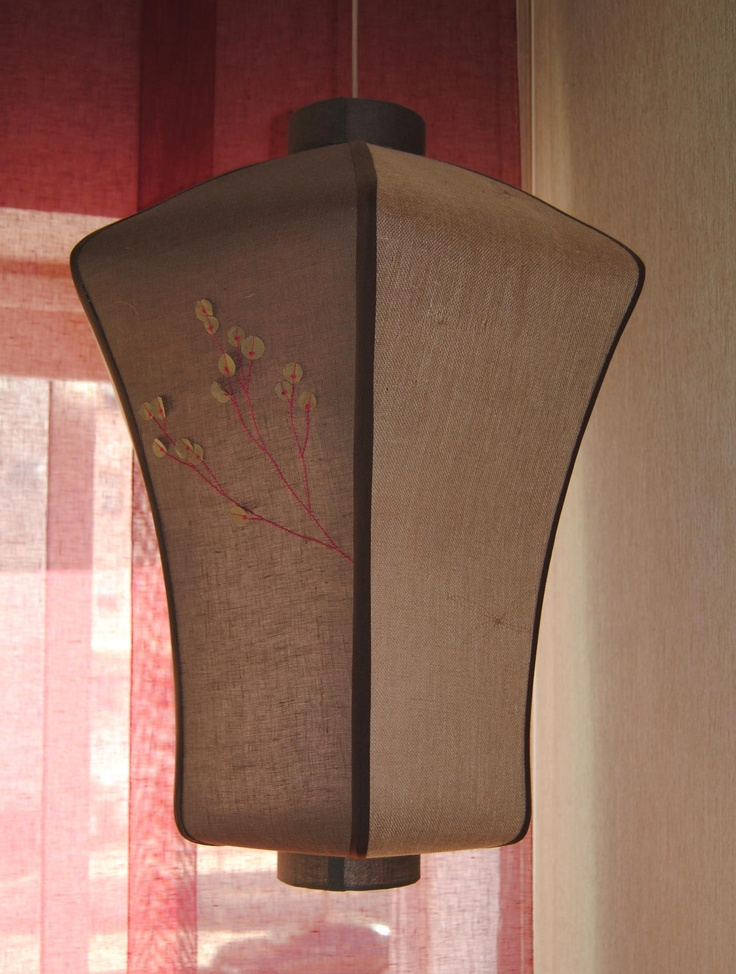 Contemporary chinese lamp in linen with handmade embroidery