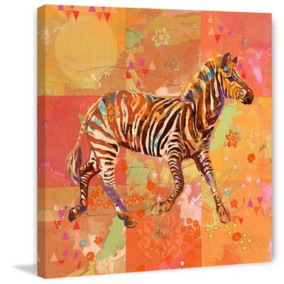 "Marmont HIll AfriKarma Zebra Painting Print on Wrapped Canvas Size: 40"" H x 40"" W x 1.5"" D"
