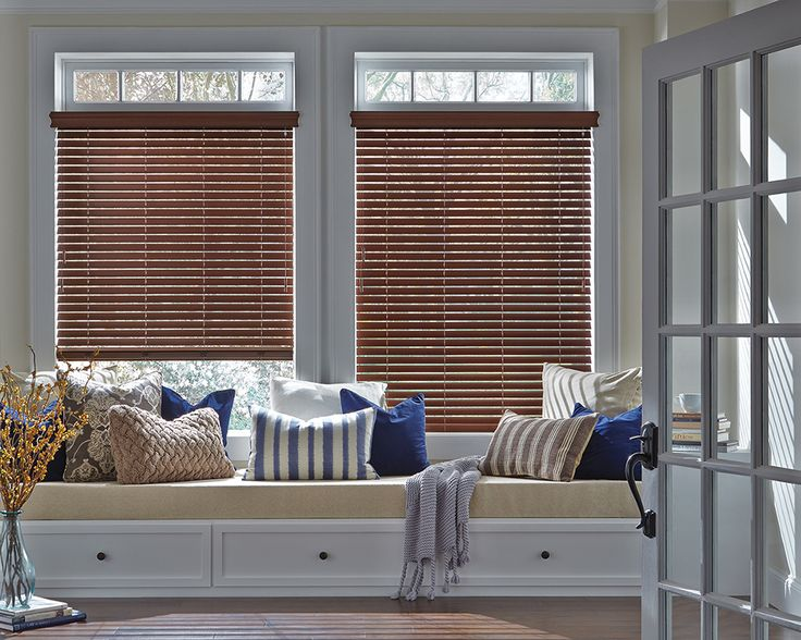 Design a private space where you can spend time exactly how you want to, with no interruptions and the easy operation of Hunter Douglas Everwood® Collection of Alternative wood blinds.  Now available with UltraGlide® ​retractable operating system that brings beauty and safety together.  #WindowSeat
