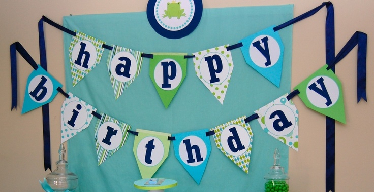 frog prince happy birthday banner