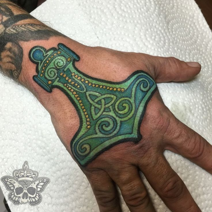 inkyknuckels:thors-hammer-thors-hammer-hand-tattoo-color-tattoo