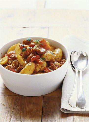 pdt à la tomate,chorizo et poivrons