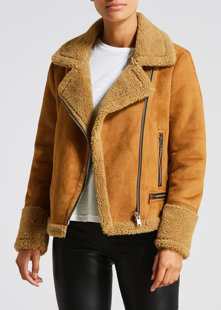 Faux Shearling Biker Jacket Brown Jackets, Biker