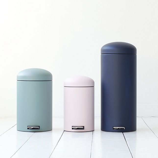 Matte pastel powder-coat metal trash can litter bin waste basket Brabantia Dutch design the Netherlands retro modern