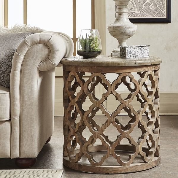 Vince Reclaimed Wood Moroccan Trellis Drum Accent Table By Inspire Q Artisan Funky Home Decor Table Sofa End Tables