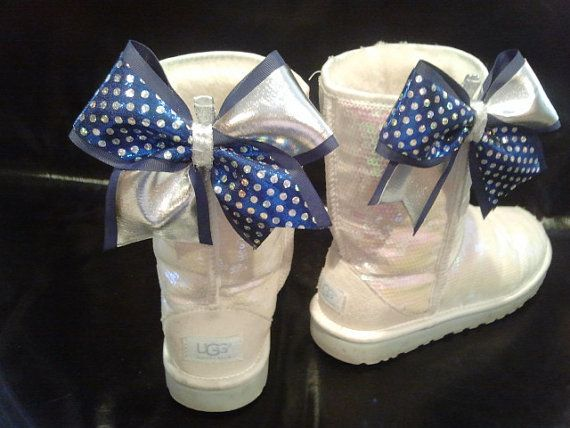 Mini Cheer Bow Ugg & Shoe Clips Set of 2 Clip to by BowheadNation, $12.99