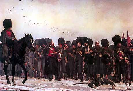 The Roll Call: The men of the 3rd Battalion, Grenadier Guards, after the Battle of Inkerman [1854] by Lady Elizabeth Butler