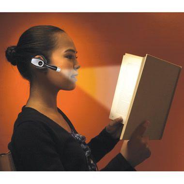 The Over the Ear Book Light - Hammacher Schlemmer