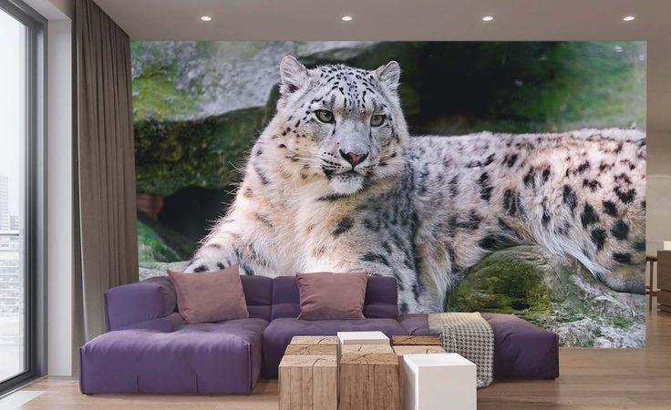Fotomural Leopardo de las Nieves, a $69.000 el metro cuadrado.