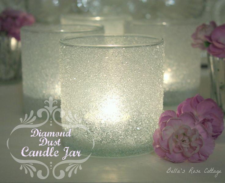 Bella's Rose Cottage: Diamond Dust Candle Jar Tutorial... Just beautiful! So simple too.
