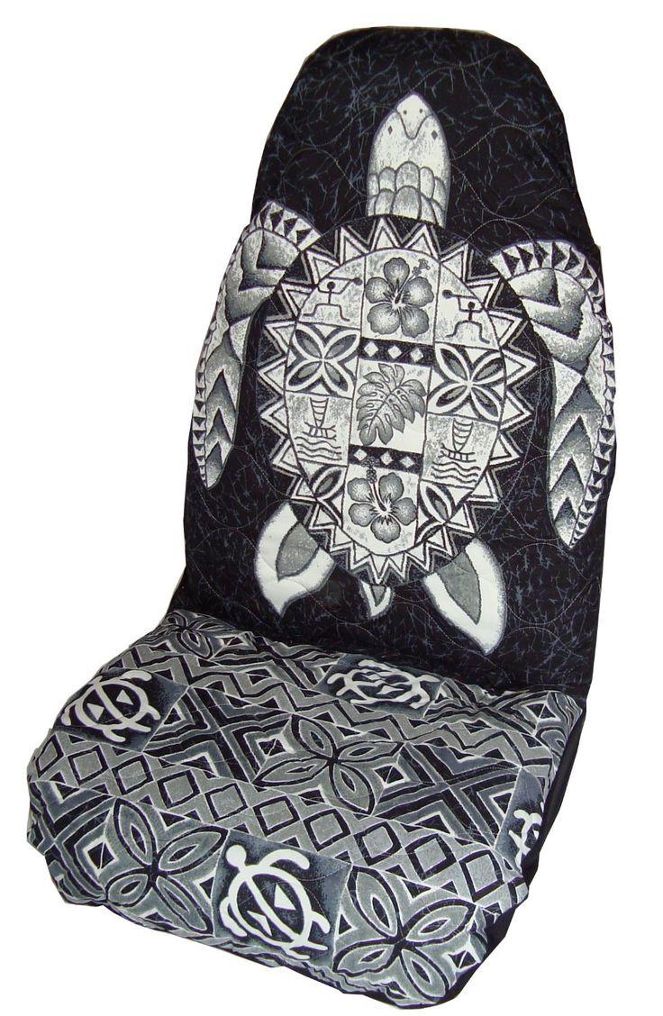 Black Honu (Sea Turtle) Hawaiian Car Seat Covers (Standard Size) by Winnie Fashion : Amazon.com : Automotive