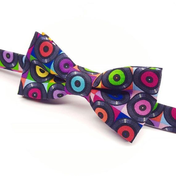 Music Bow tie, Bow tie with Records, Vinyl,  by FlyTiesforFlyGuys