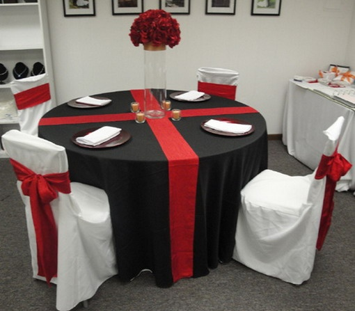 Red white wedding table idea shows white with red chairs for White wedding table decorations