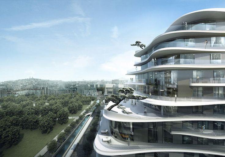 Projeto do edifício Unic, em Paris, é marcado por terraços sinuosos