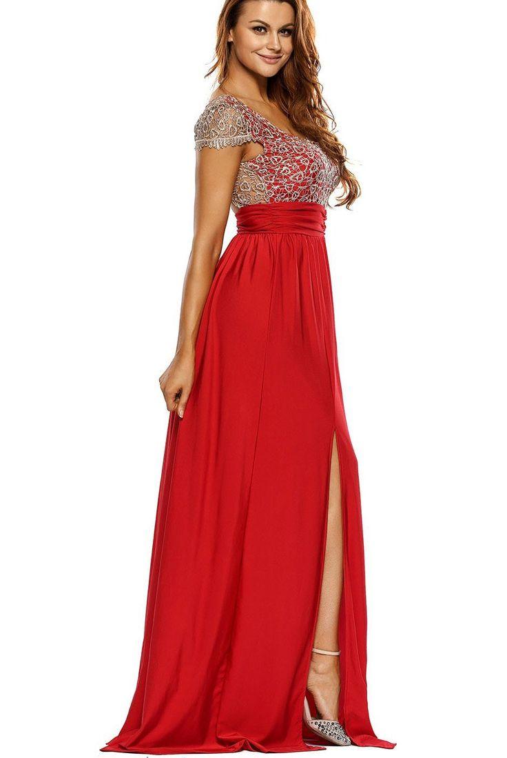 Robe de Soiree Longue Moderne Dentelle Superposition Rouge avec Fente Pas Cher www.modebuy.com @Modebuy #Modebuy #Rouge #femme #Rouge #mode