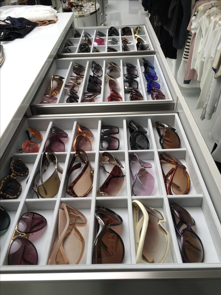 Custom drawer organizer for sunglasses