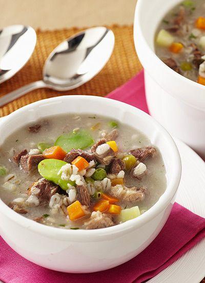 Recta: Sopa de cebada perlada con costilla
