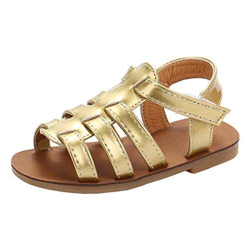 ff351b09d9a Toddler Girl Summer Glitter Strappy Gladiator Flat Sandal Beach Slingback Sandal  Golden Size 24