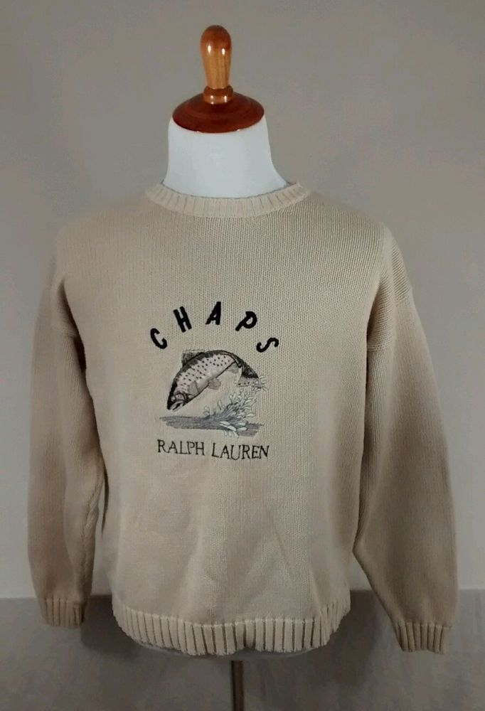 Vintage Ralph Lauren Chaps Trout Fishing Embroidered Handframe Sweater Medium #Chaps #Crewneck