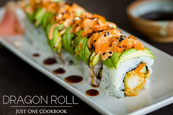 Make dragon roll at home with crunchy shrimp tempura wrapped in nori and rice covered with a layer of sliced avocado. Drizzle with spicy mayo!