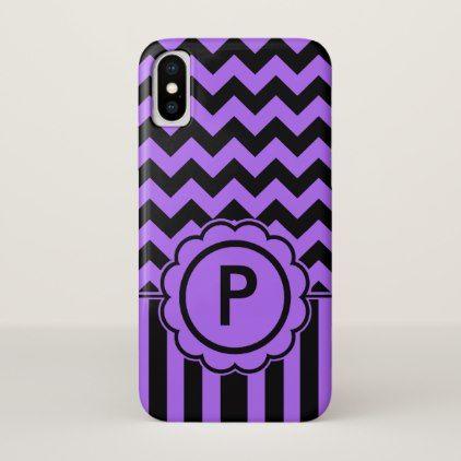 Black and Purple Chevron Monogram iPhone X Case - monogram gifts unique design style monogrammed diy cyo customize