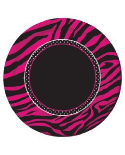 These Pink Zebra Cake Plates are Hot! Featuring pink and black zebra stripes on the outer rim, they are detailed with a polka dot outline. Check out our other Pink Zebra products for a coordinating theme. 8 plates per package.
