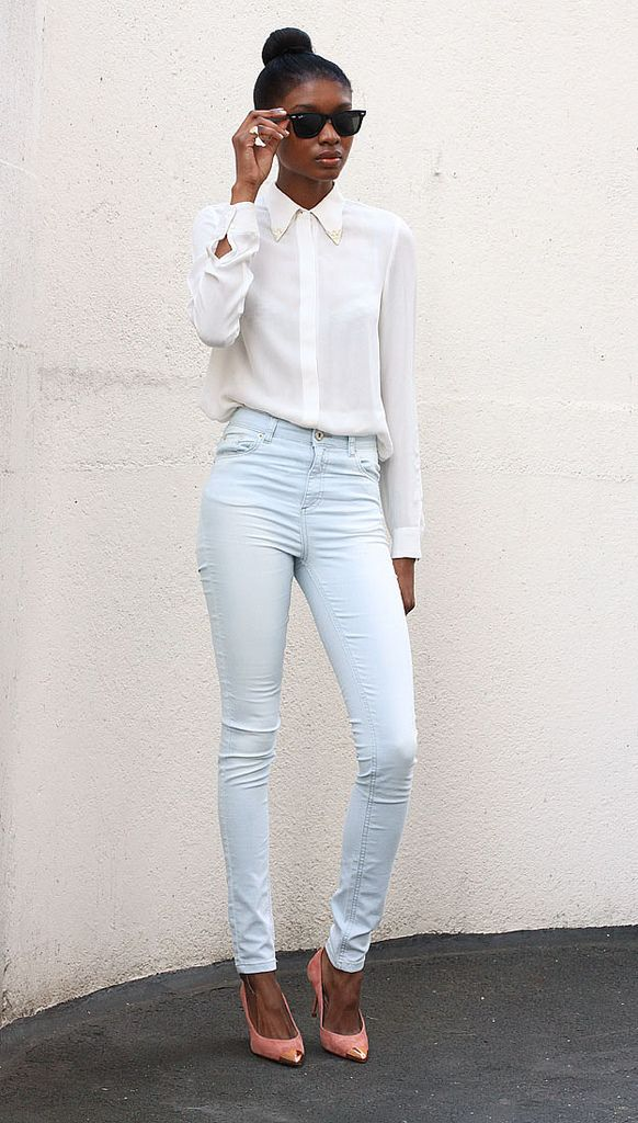 Natasha Ndlovu (Snow Black) - Zara shirt and metal-toe pumps, Miss Selfridge jeans, and Ray-Ban sunglasses.