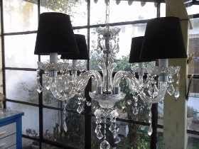 Araña De Vidrio Colgante 4 Luces Con Caireles(apta Luz Led) - $ 2.190,00