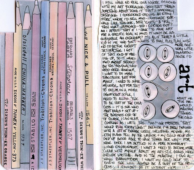 """mini-art journal by A J Tallman (AnicaAnscott). #handwriting """"This was the art section. For the left-hand page, I scanned several of my grandfather';s drafting pencils, printed the image and gessoed it, and then traced the image with pen. I did the same for the vintage buttons on the right."""