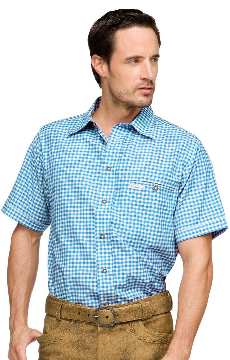 Stockerpoint Trachtenhemd Renko2 türkis Halbarm Karohemd
