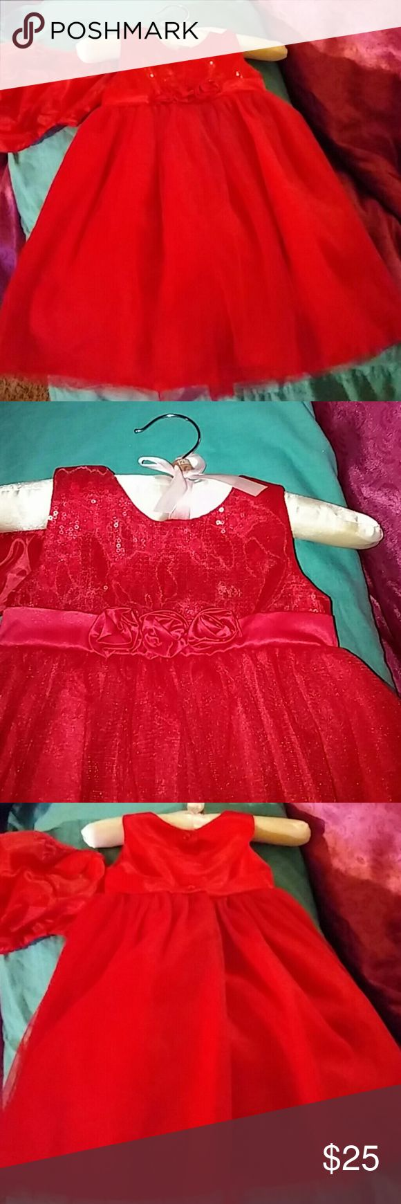 Cute brand new red dress Short sleeve red tuelle bottom...worn once with red bloomer Dresses Formal