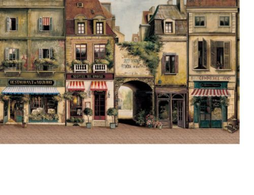 Mural paris street store backdrop wallpaper dollhouse for Dollhouse mural