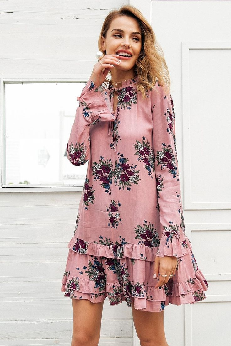 a8e84fba8a Product Description  Buy 2018 Bohemian Fashion Floral Printed High Neck  Ruffle Women Loose Short Dress With Long Sleeve on Sale by PesciModa  Details  ...