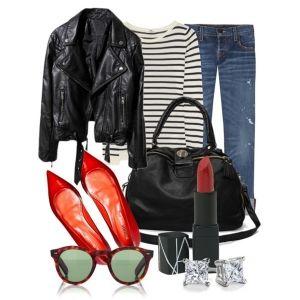 С чем носить красные балетки: синие джинсы, черна куртка и черная сумка