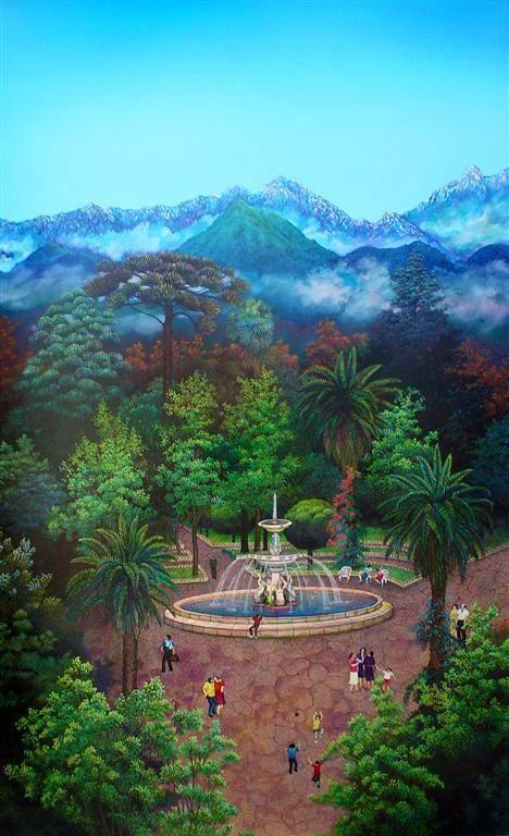 """PLaza de Armas - San Fernando Oleo/tela pagada sobre madera - 150x244 ctms. 2006 - Proyecto """"San Fernando Patrimonial"""", para los espacios públicos de Hospital San Juan de Dios."""