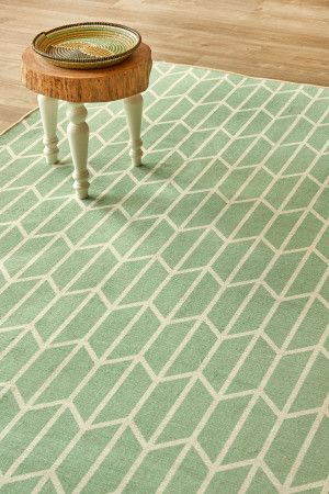 Geo Chevron Aqua: 1.5 X 2.3 metres. Printed nylon. Please note that, as these printed rugs are mad...