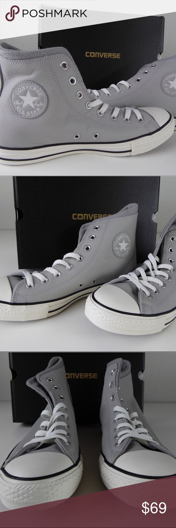 "NIB Converse Chuck Taylor All Stars Leather Shoes Brand new Chuck Taylor All Stars. Classic hi-top style in ""ash gray/egret"" . Leather upper, rubber cap toe, lace up front with wool lining and cushioned footbed. Brand new in box so price firm. Let us know if you have any questions. Converse Shoes Sneakers"