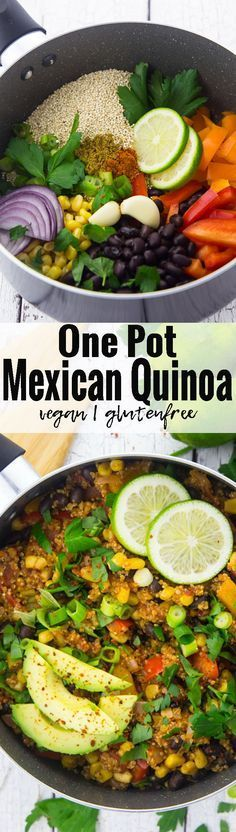 This vegan one pot Mexican quinoa chili with black beans and corn is one of my favorite vegan weeknight dinners! Vegan food can be so simple and delicious!! | Find more vegan recipes at veganheaven.org