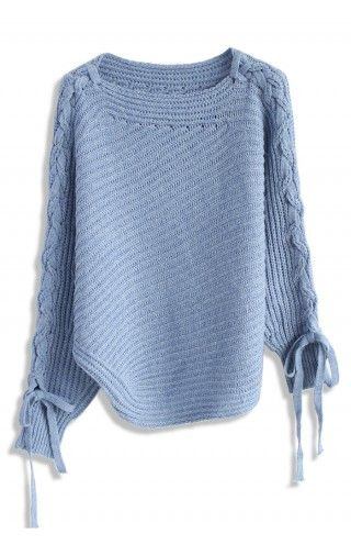 Asymmetric Lace-up Shoulder Sweater in Blue - Sweaters - Tops - Retro, Indie and Unique Fashion