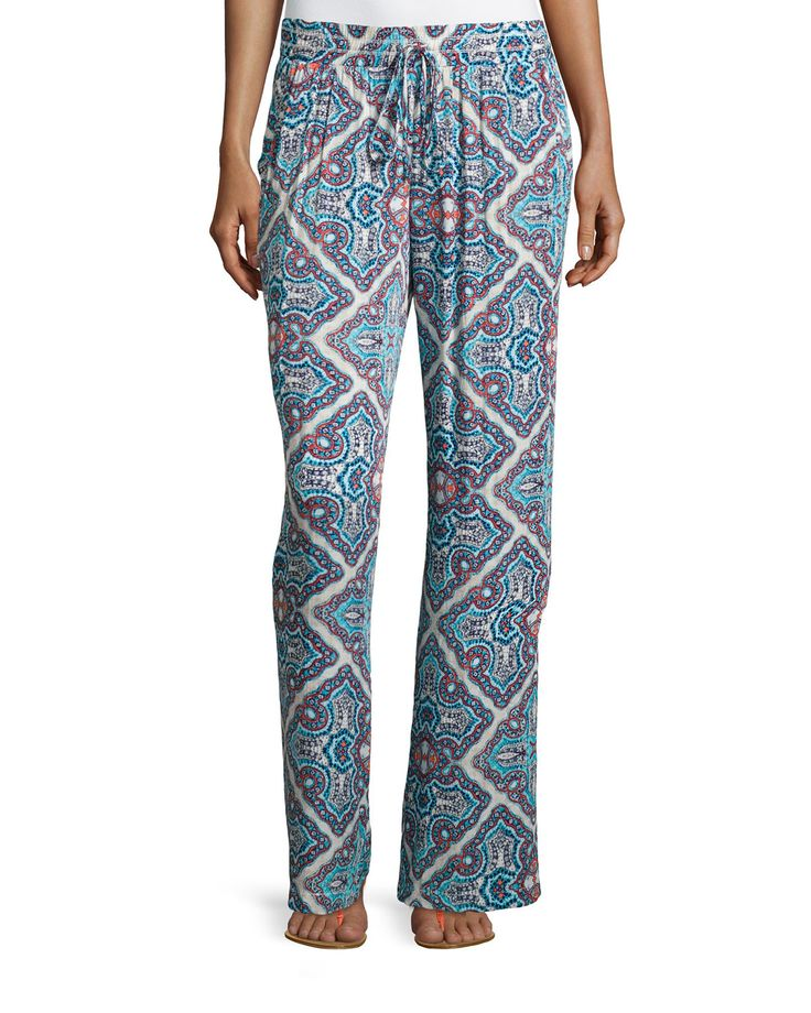 Laundry by Shelli Segal Printed Palazzo Pants, True Blue/Multi, Women's, Size: L
