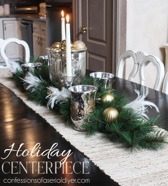 Christmas dining table centerpiece this shows how easy for Glass centerpieces for dining room tables