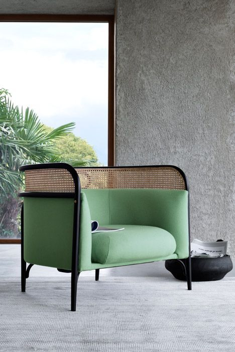 CHAIR DESIGN | green bent wood and rattan | www.bocadolobo.com/en/index.php/en/index.php