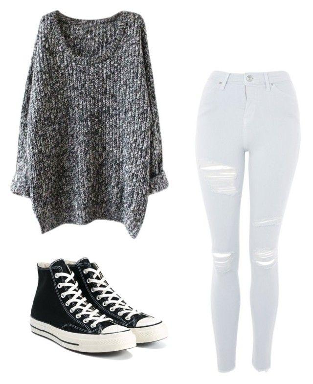 Jersey largo con magas enrolladas/ pantalón roto/ converse (bota) negras/ gargantilla/ gafas de vista de pasta negras @noeliabh_04( instagram)