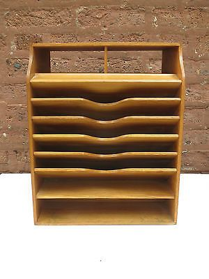 Antique Vintage Wood Office Desk File Organizer Mail Sorter Tray .