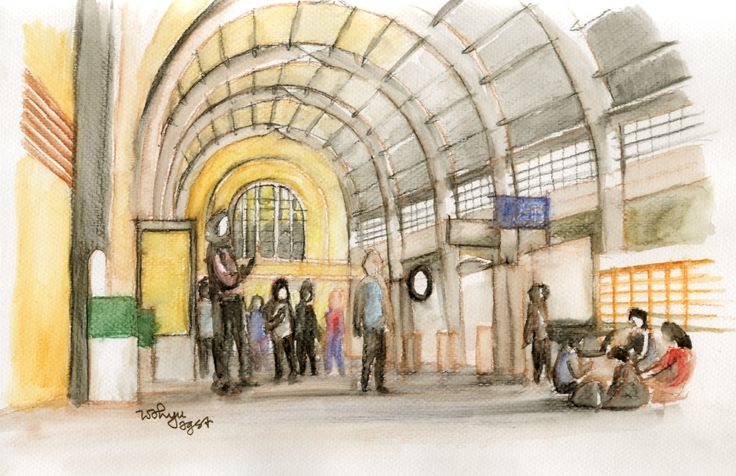 Inside Stasiun Kota / Beos (watercolour sketch)