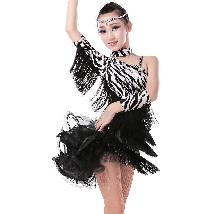 Латинский танец платье для девочки с леопардовым принтом и стразами девочек бальные Латинской платье профессиональный латинский танец платье костюм для малышей