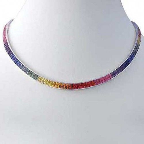 Rainbow Sapphire Invisible Set Double Row Tennis Necklace 14K White Gold (43ct tw)